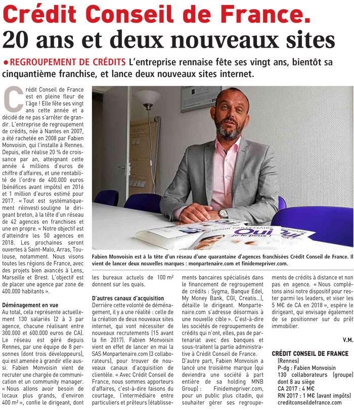 Crédit Conseil de France. 20 ans et deux nouveaux sites