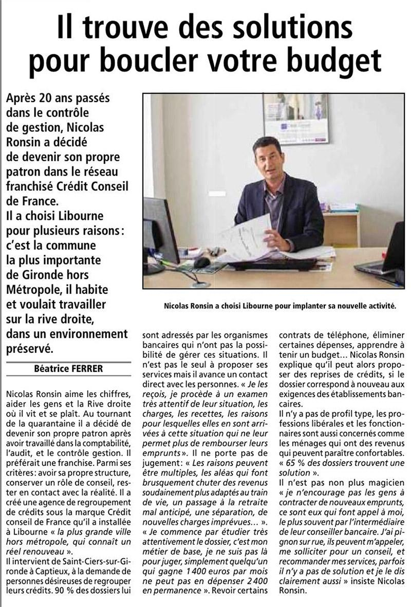 Interview de Nicolas Ronsin, franchisé implanté à Libourne - via Le Resistant